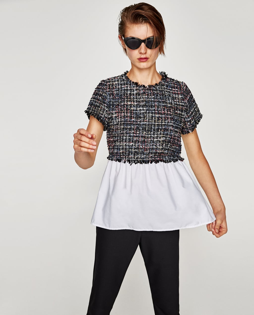 Image 3 of CONTRASTING TWEED TOP from Zara