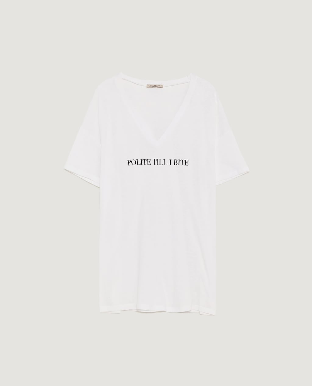 Image 8 of V-NECK T-SHIRT WITH SLOGAN from Zara