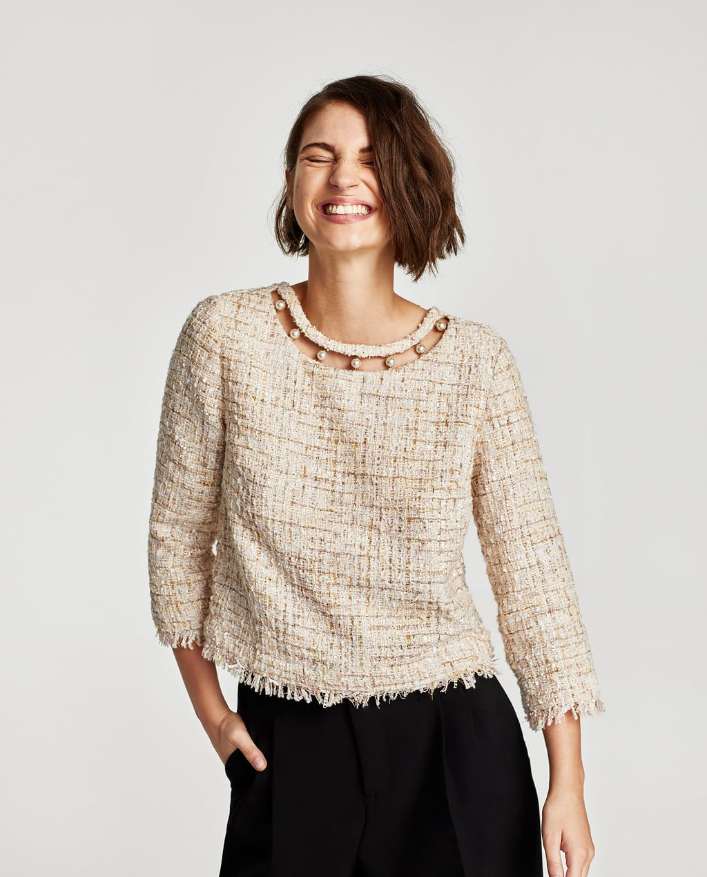 Image 3 of TWEED TOP WITH FAUX PEARL DETAILS from Zara