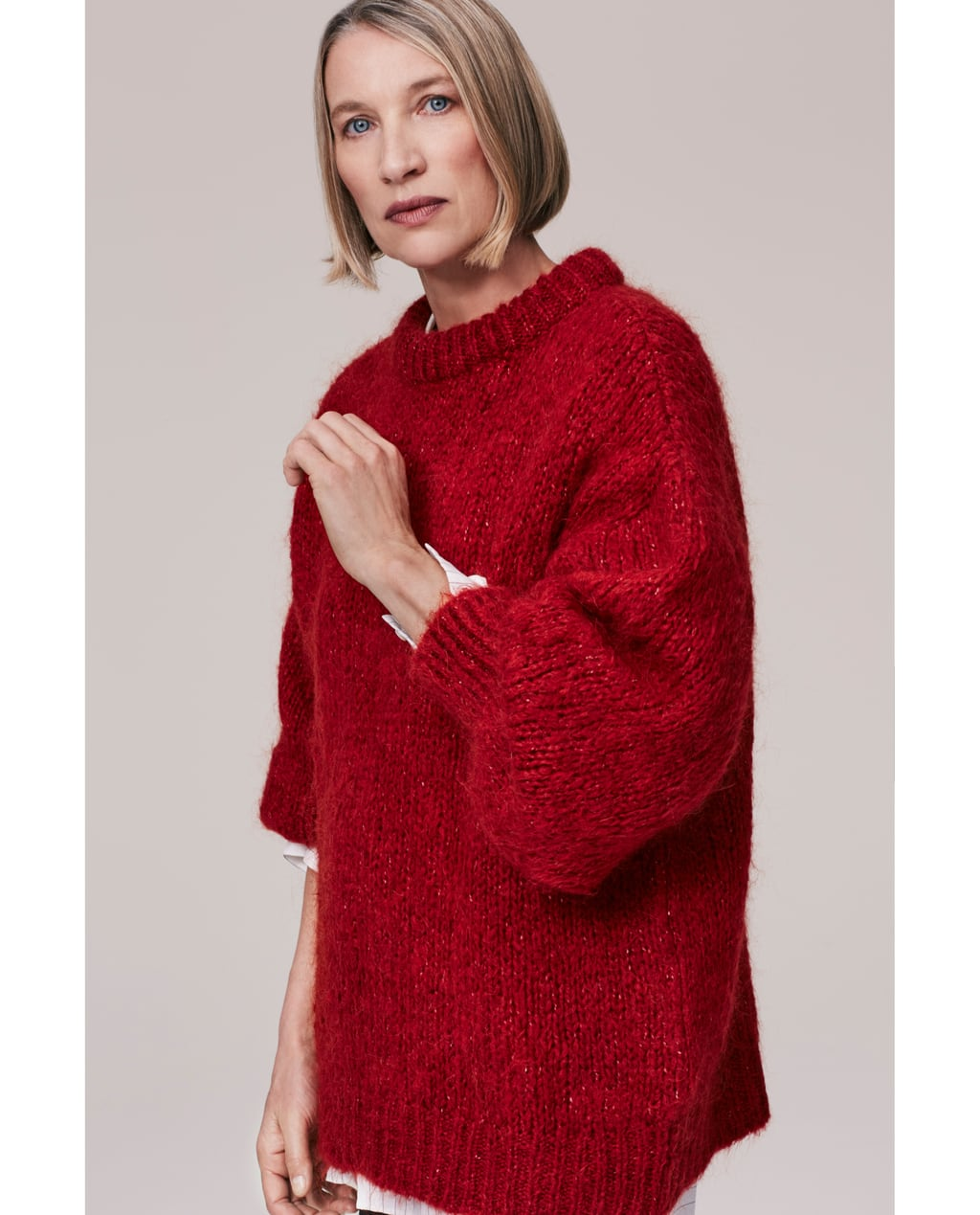 MOHAIR SWEATER WITH PUFFY SLEEVES - Sweaters-KNITWEAR-WOMAN-SALE ...