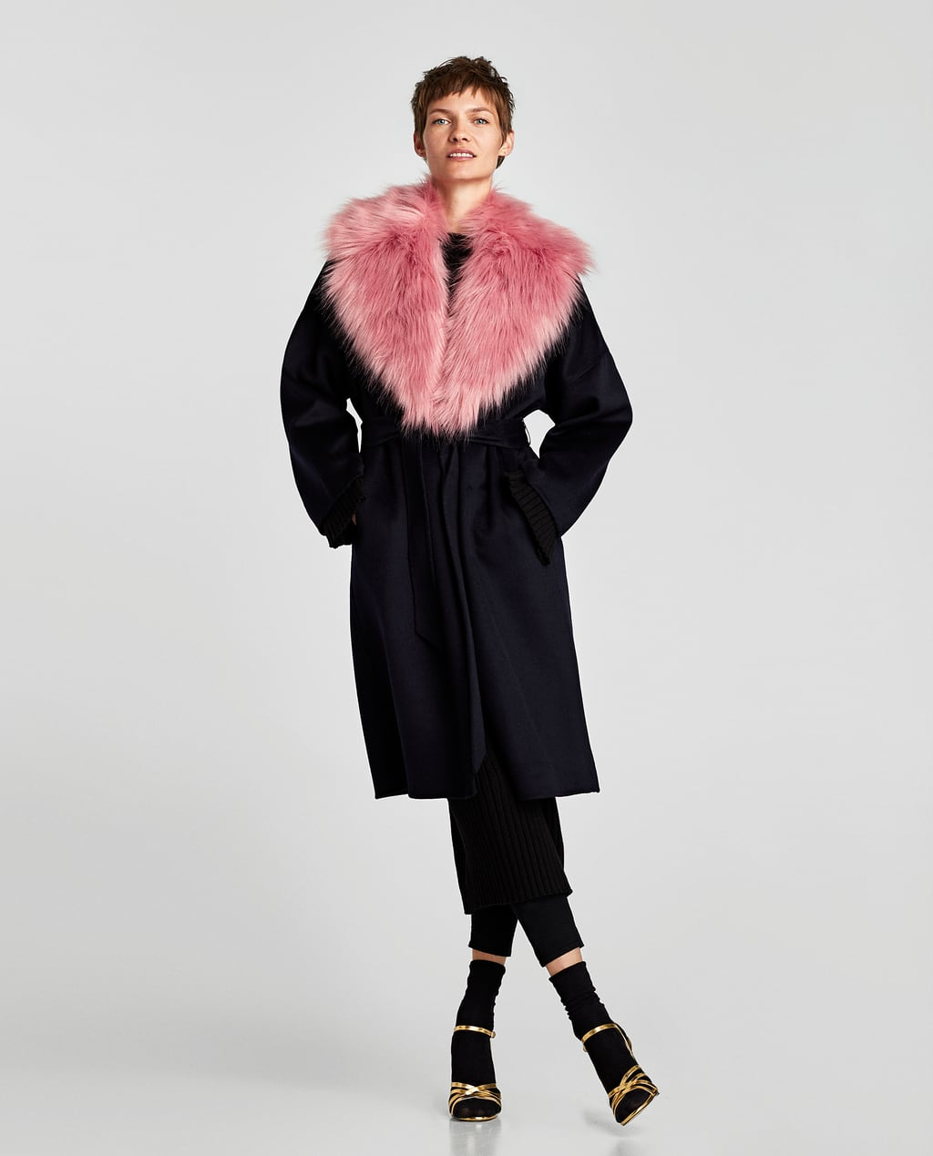 LONG WOOL COAT WITH BELT - Coats-OUTERWEAR-WOMAN | ZARA United States