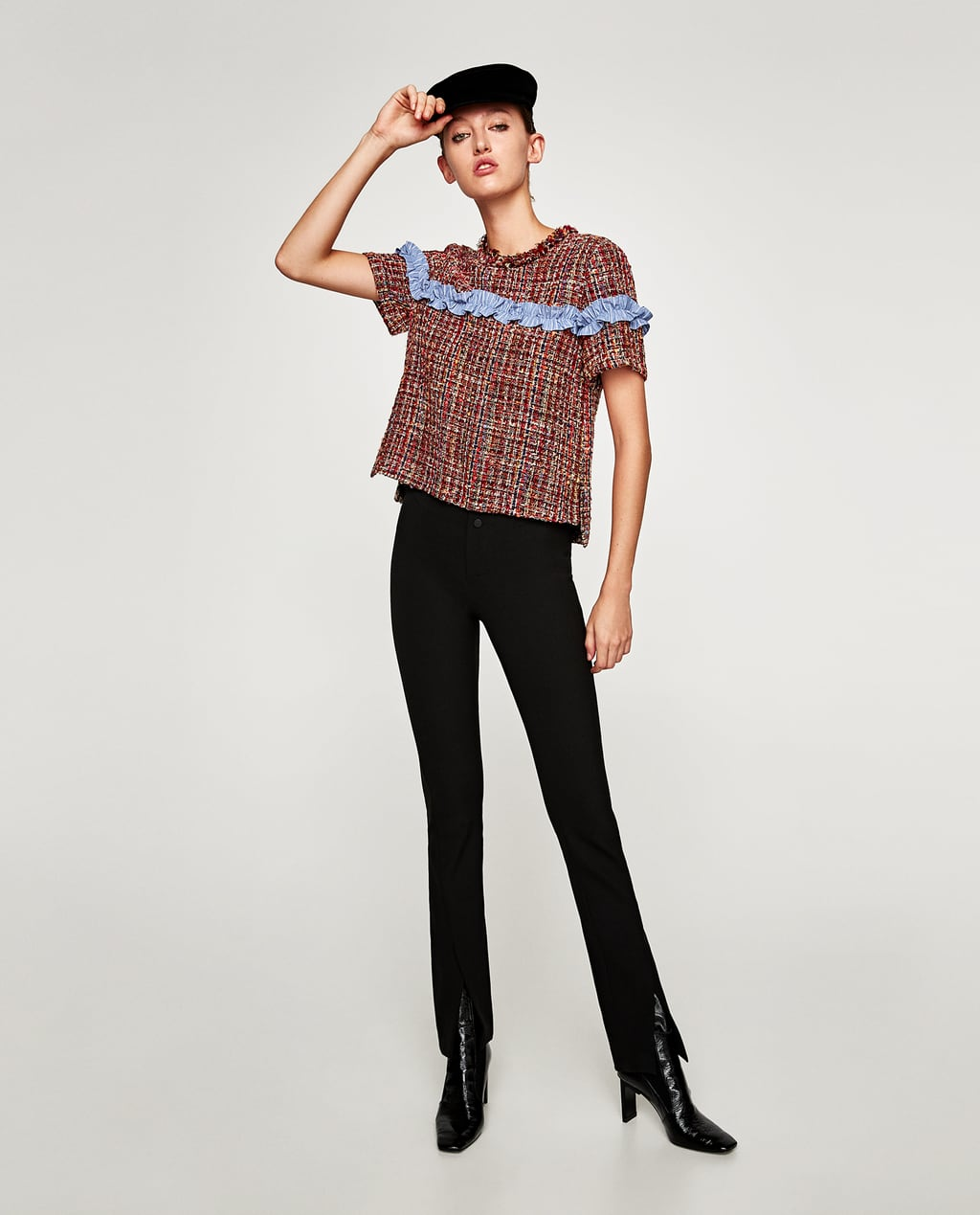 Image 1 of TWEED TOP WITH CONTRASTING RUFFLE from Zara