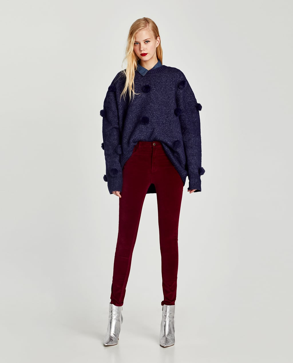 Image 1 of HIGH WAIST 5-POCKET VELVET JEGGINGS from Zara