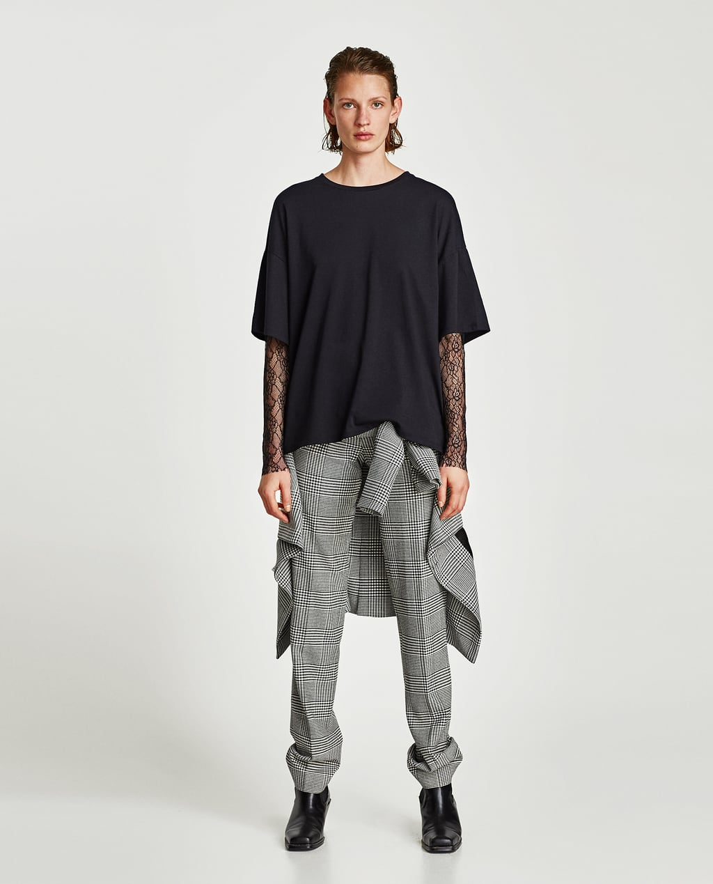 Zara black t shirt india - Image 1 Of T Shirt With Lace Sleeves From Zara