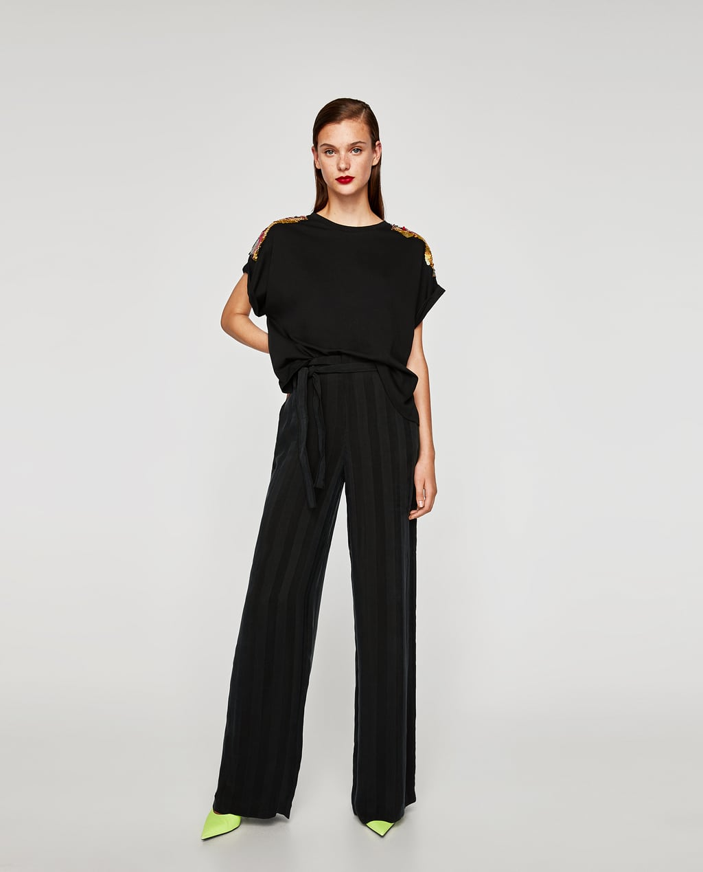 Zara black t shirt india - Image 1 Of T Shirt With Sequinned Shoulders From Zara