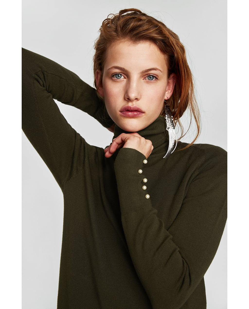 Image 2 of TURTLENECK SWEATER WITH PEARL BUTTONS from Zara