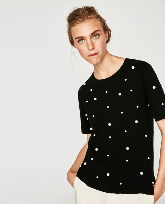 Image 2 of FAUX PEARL STUDDED TOP from Zara