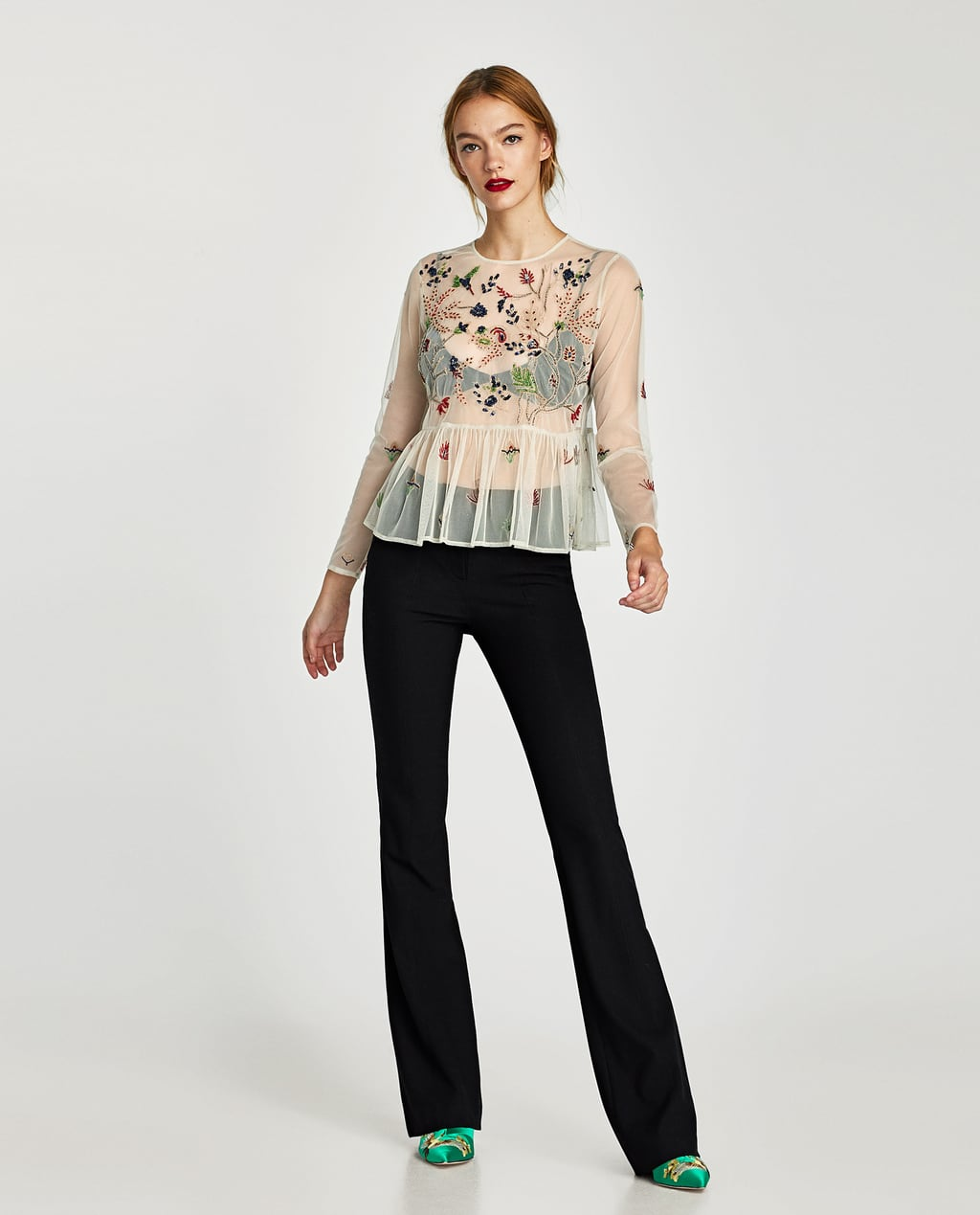 Image 1 of EMBROIDERED TULLE BLOUSE from Zara