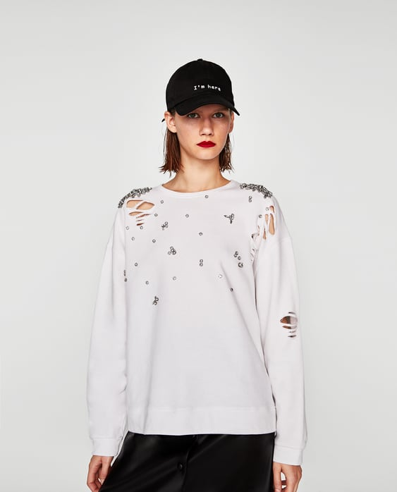Image 2 of BEJEWELLED RIPPED SWEATSHIRT from Zara