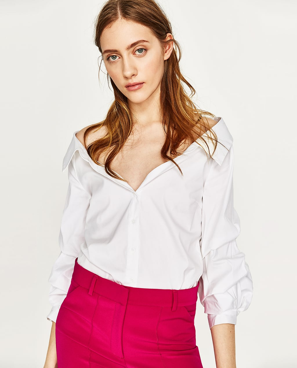 WIDE OPEN NECK SHIRT WITH PUFFY SLEEVES - TOPS-WOMAN | ZARA United ...