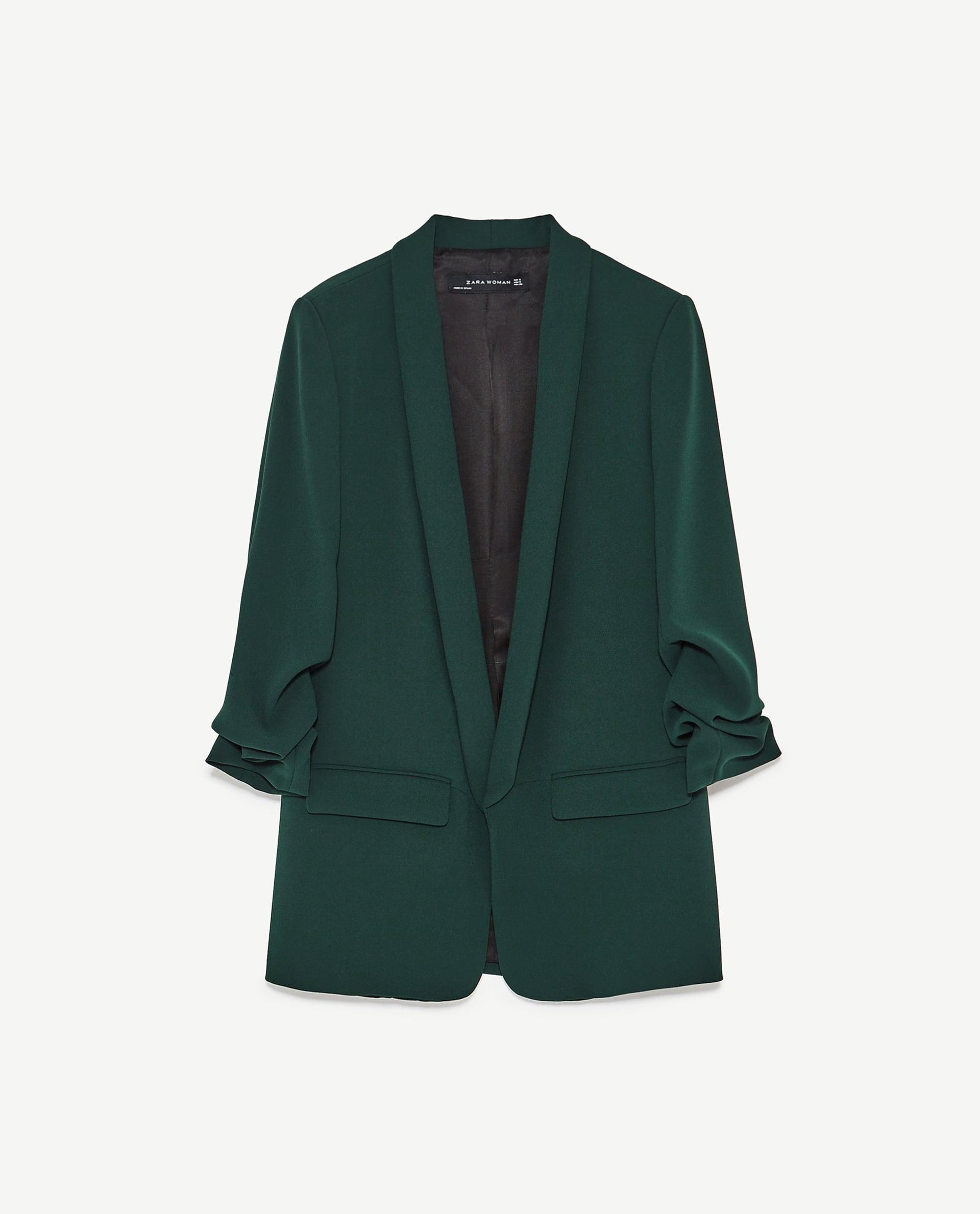 Blazer mit Ärmeln zum Krempeln von Zara in grün