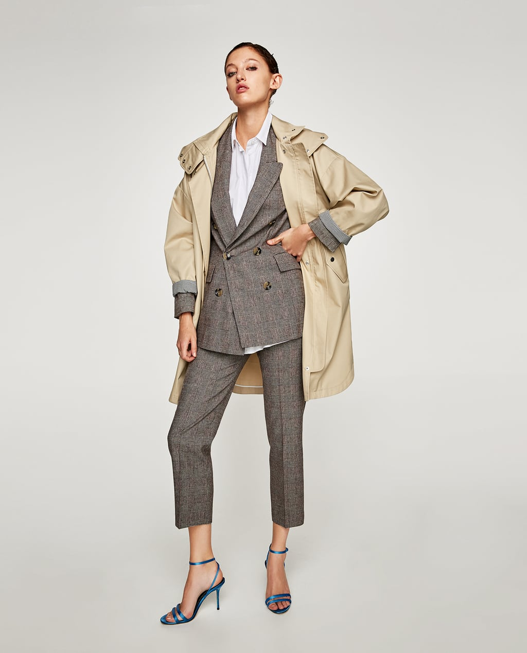 CHECKED DOUBLE BREASTED JACKET - SUITS-WOMAN | ZARA Canada