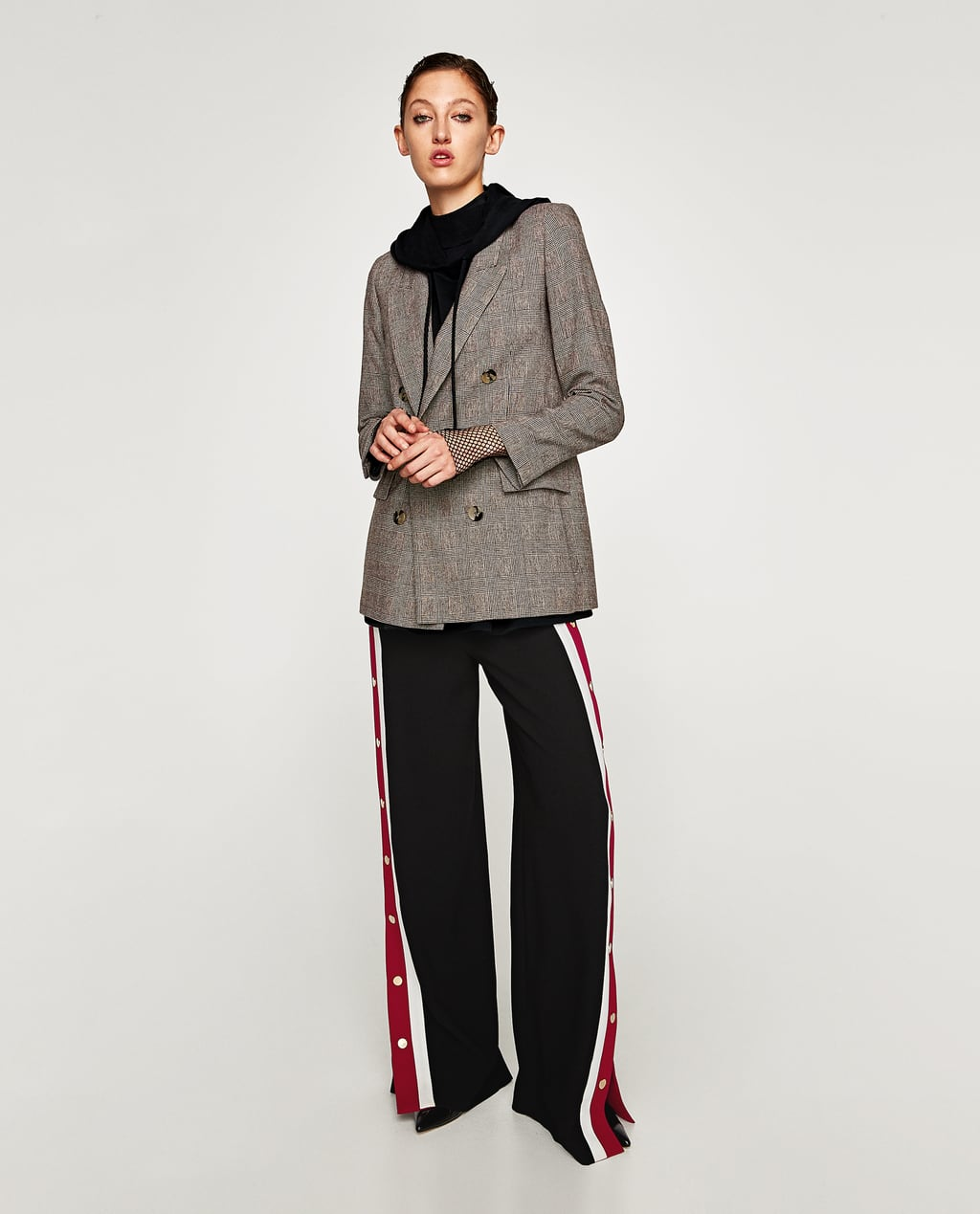 CHECKED DOUBLE BREASTED JACKET - BLAZERS-WOMAN | ZARA United States