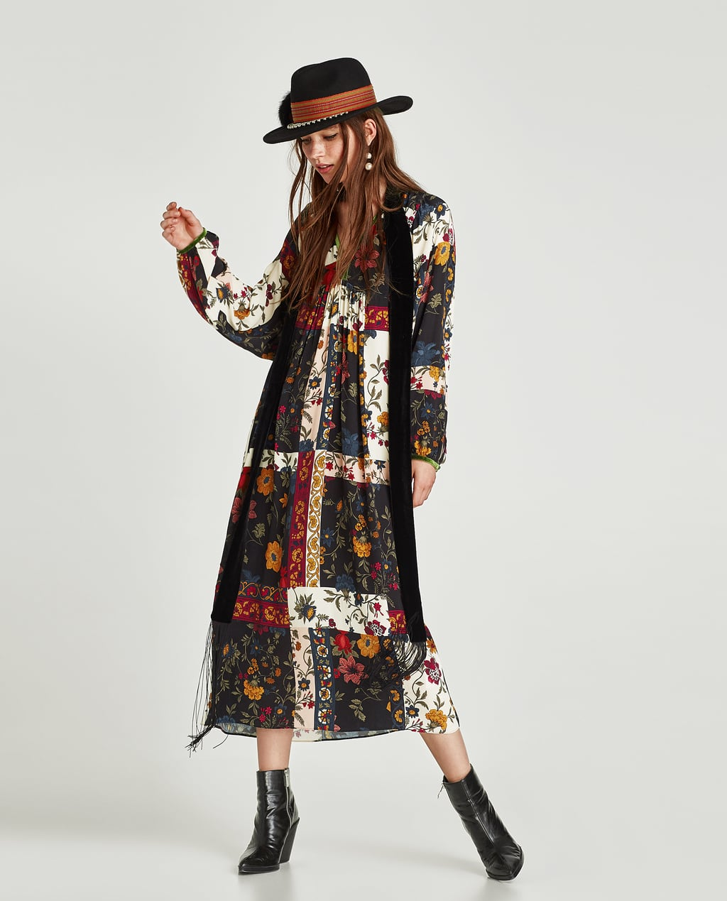 Image 1 of PATCHWORK PRINT DRESS from Zara
