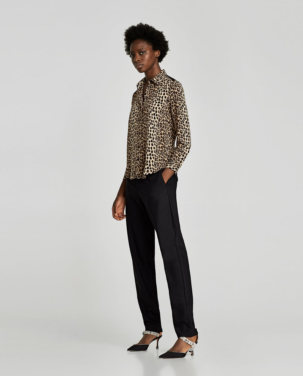 Image 1 of ANIMAL PRINT BLOUSE WITH LACE from Zara
