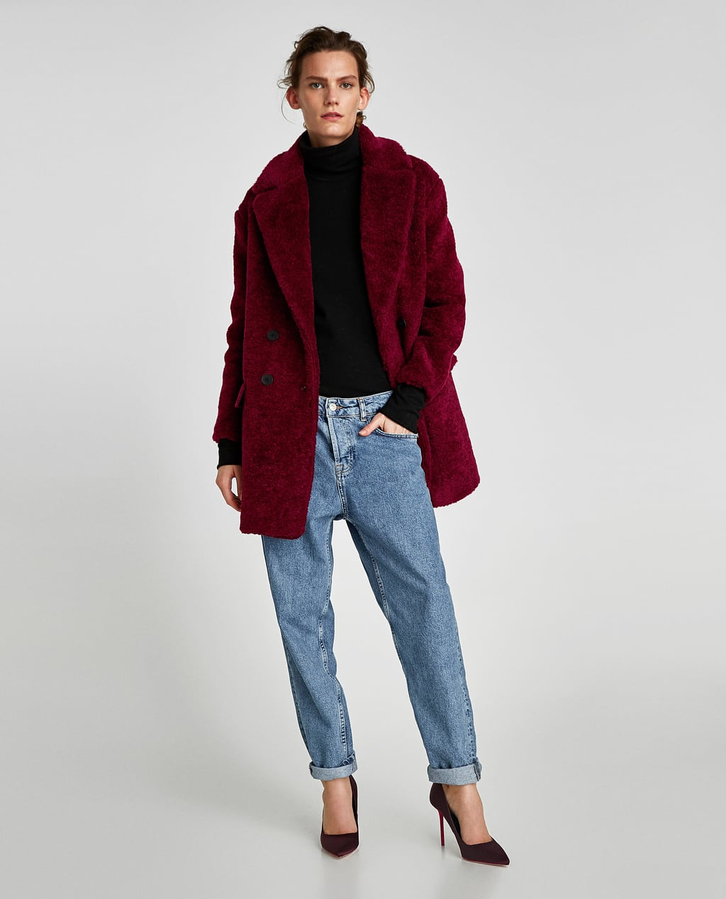 Image 1 of TEXTURED COAT WITH LAPELS from Zara