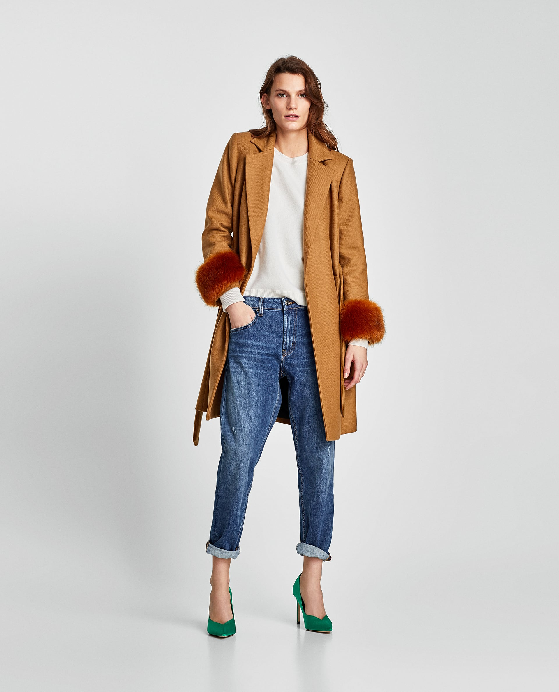 Image 1 of COAT WITH TEXTURED CUFFS from Zara