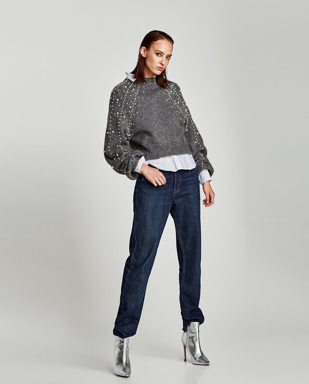 CROPPED SWEATER WITH FAUX PEARLS - View All-KNITWEAR-WOMAN-SALE ...