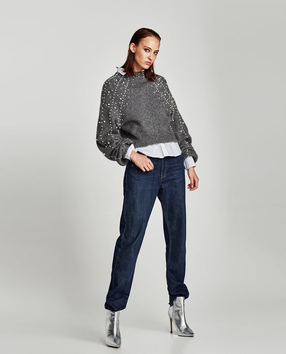 Image 1 of CROPPED SWEATER WITH FAUX PEARLS from Zara