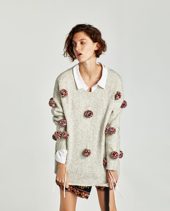 Image 2 of OVERSIZED POMPOMS SWEATER from Zara