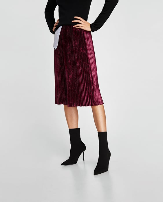Image 2 of PLEATED VELVET SKIRT from Zara