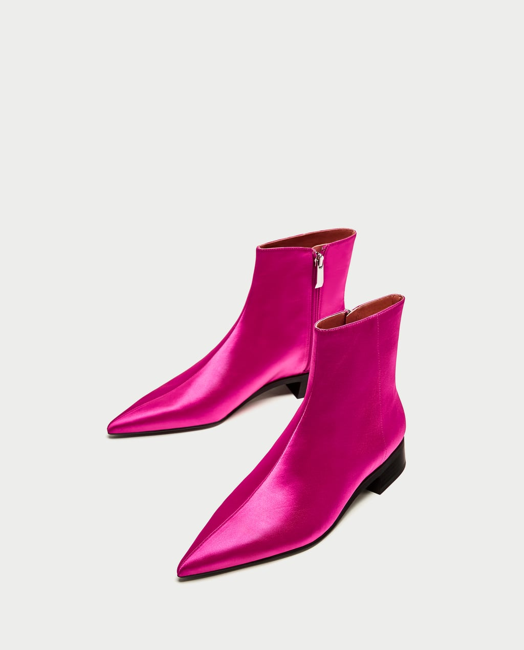 Image 1 of SATEEN POINTED ANKLE BOOTS WITH LOW HEEL from Zara