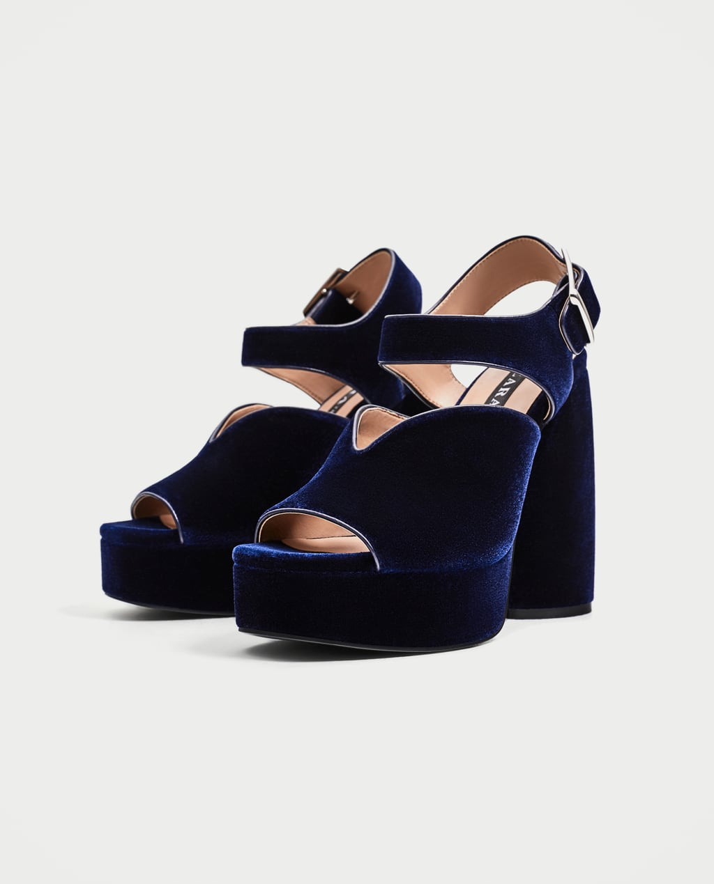 Image 1 of VELVET HIGH HEEL PLATFORM SANDALS from Zara