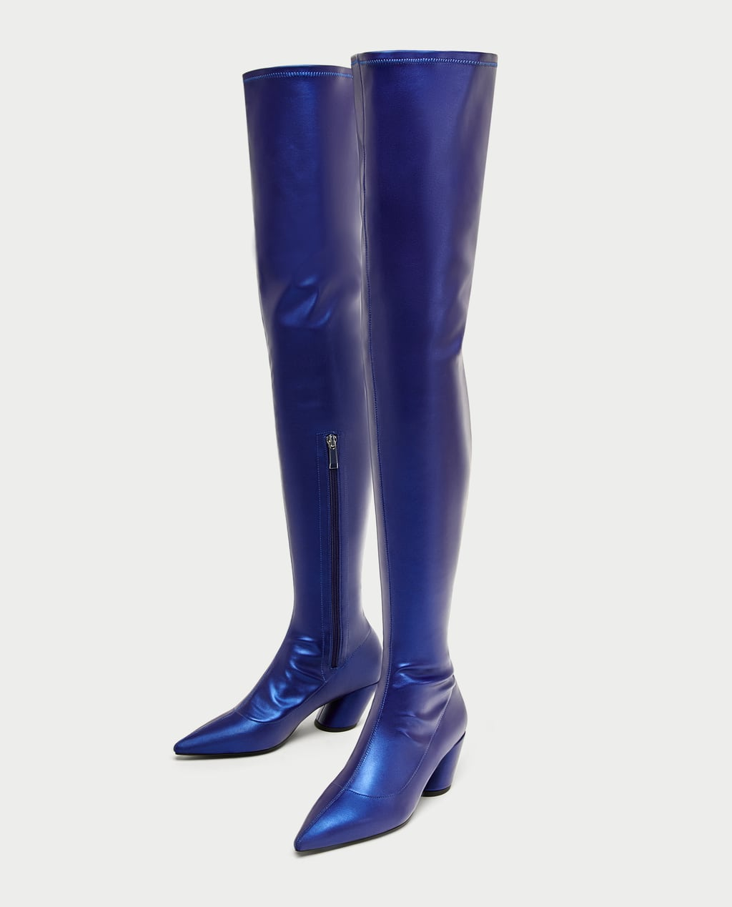 ELECTRIC BLUE POINTED OVER - THE-KNEE HIGH HEEL BOOTS-View all ...