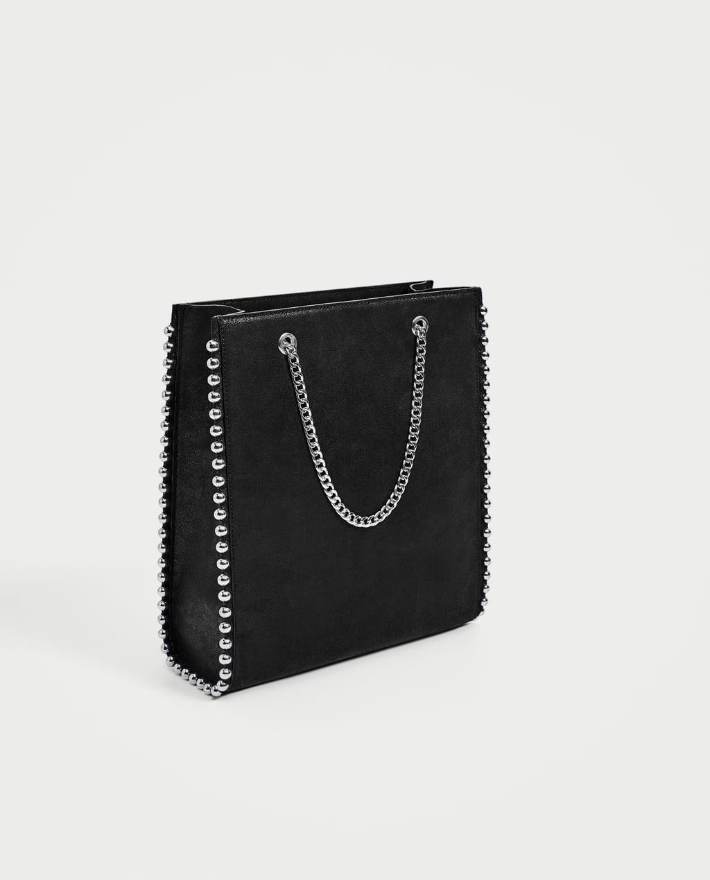 Mini leather tote bag zara - Image 1 Of Studded Tote Bag From Zara