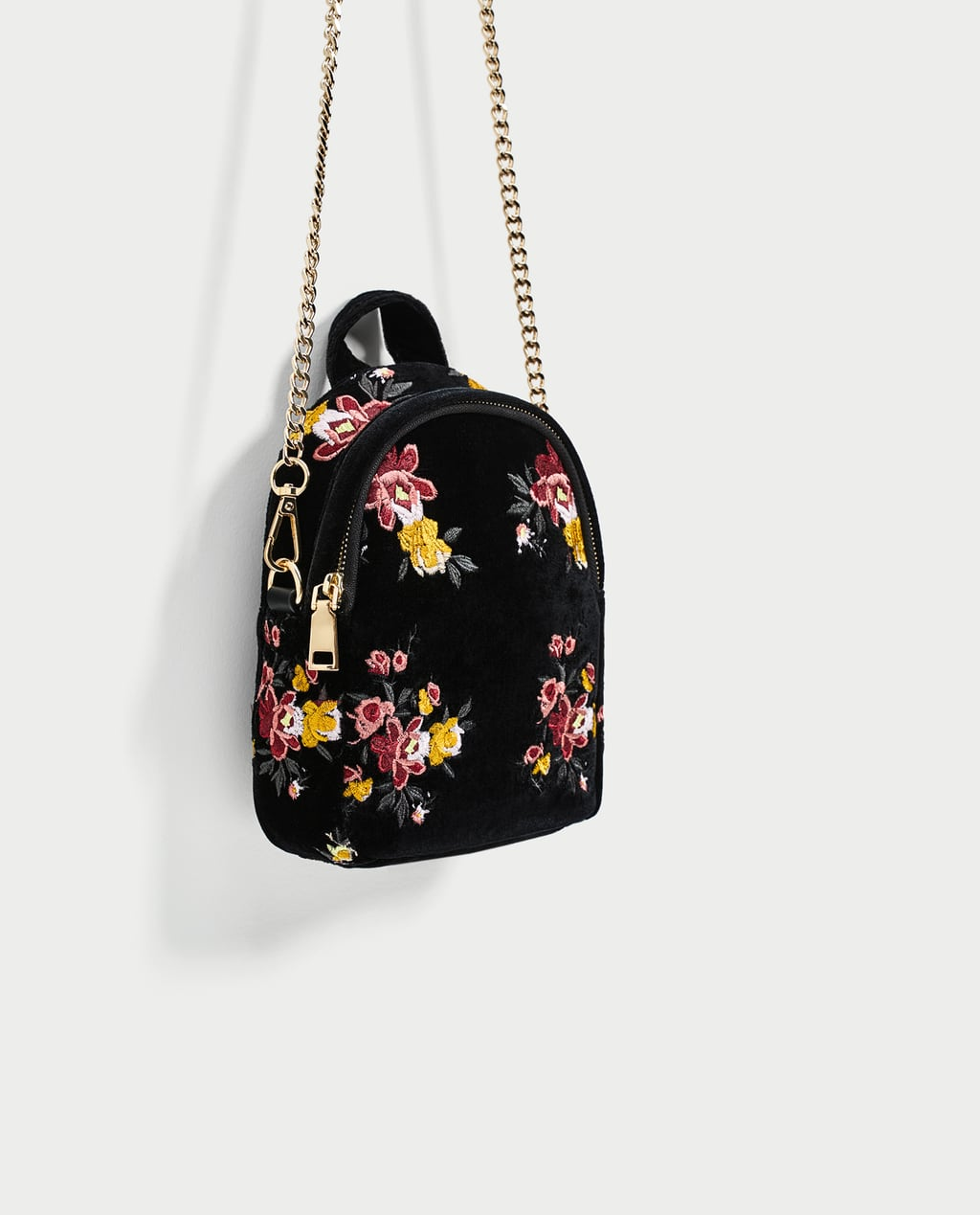 Image 1 of MINI EMBROIDERED VELVET BACKPACK from Zara