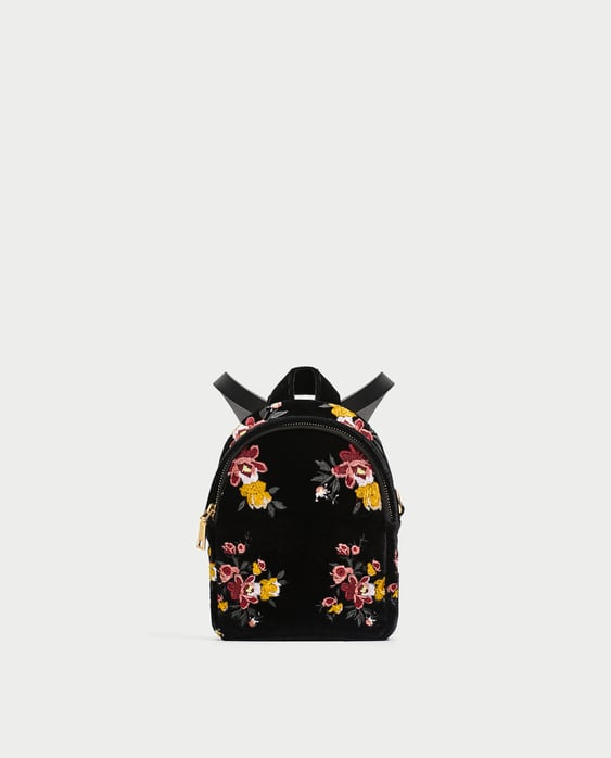 Image 2 of MINI EMBROIDERED VELVET BACKPACK from Zara