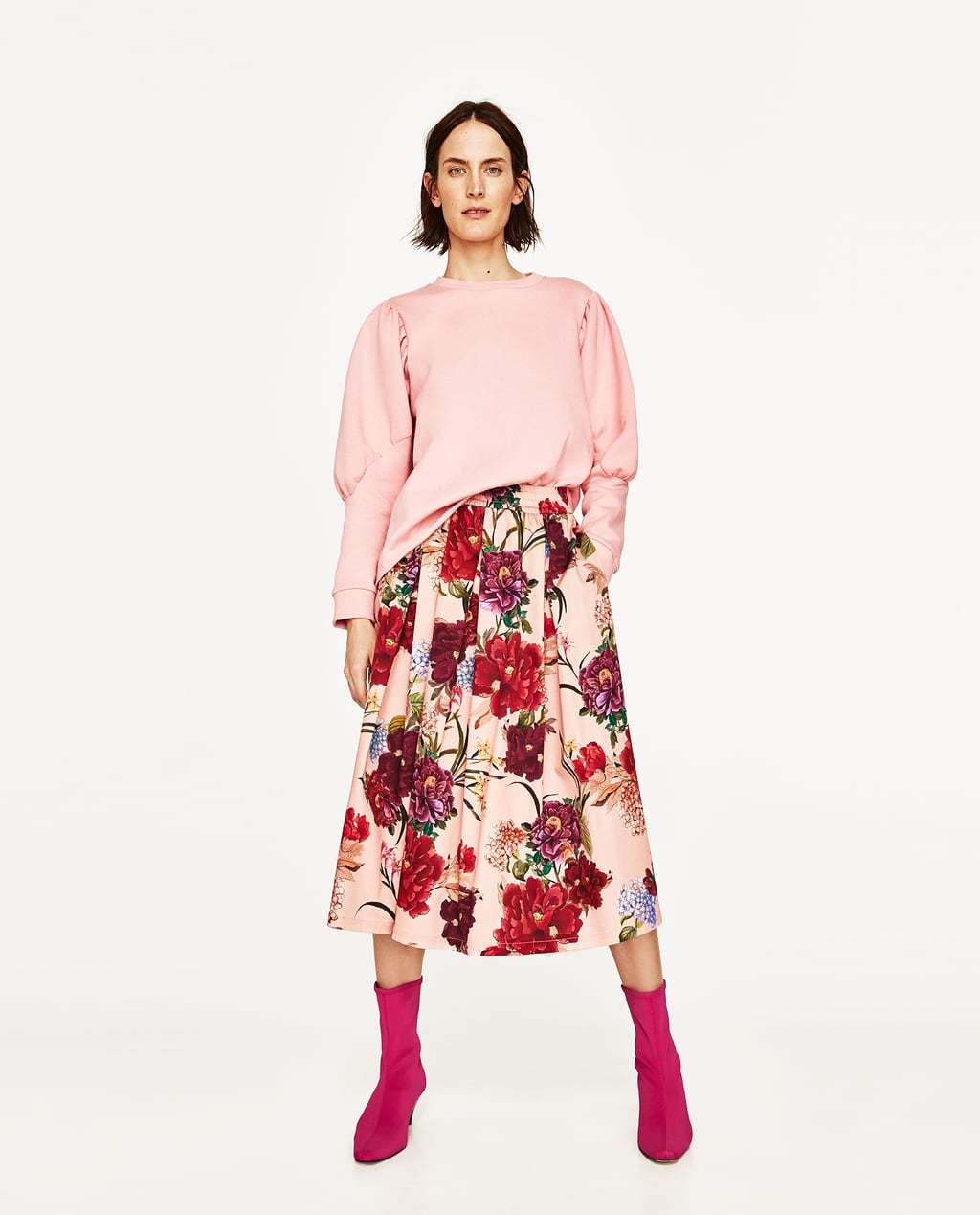 FLORAL PRINT MIDI SKIRT - View All-SKIRTS-WOMAN | ZARA United States