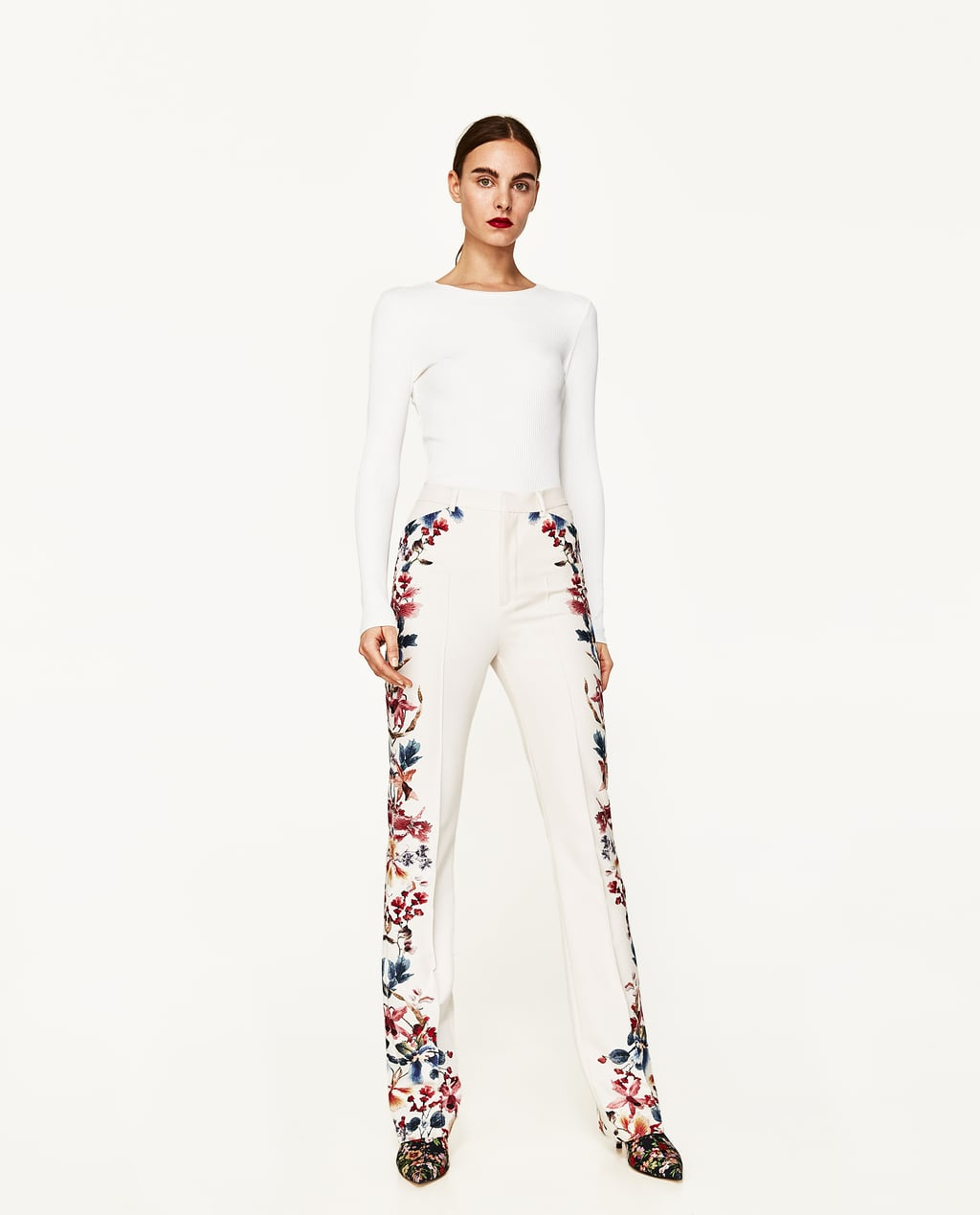 Image 1 of SIDE PRINTED FLARED TROUSERS from Zara