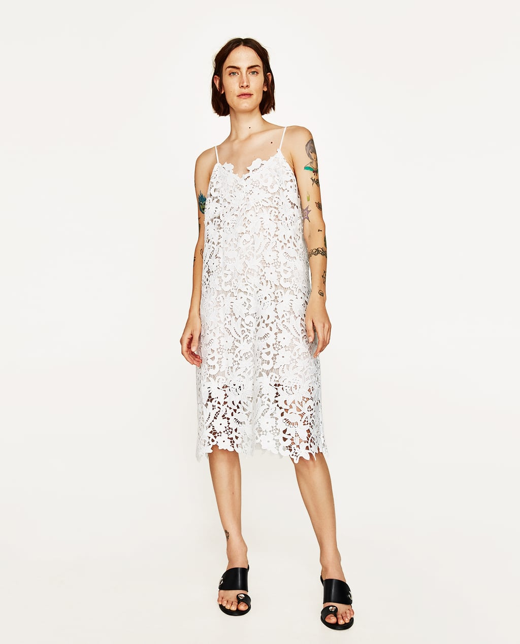 White dress at zara - Image 1 Of Strappy Lace Dress From Zara