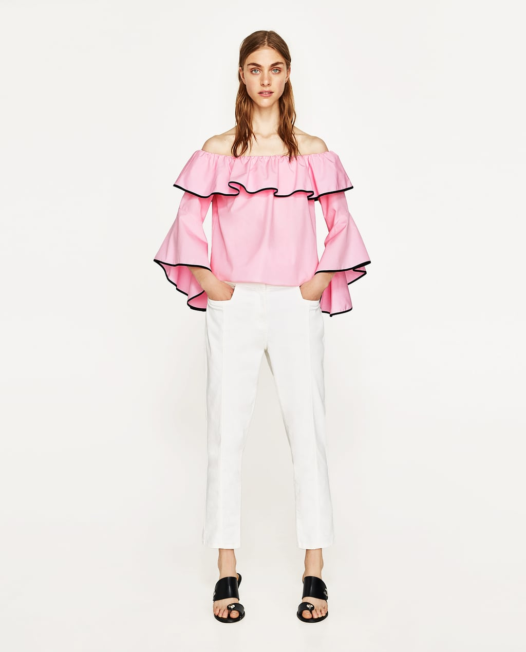 Image 1 of POPLIN TOP WITH FRILLED SLEEVES from Zara