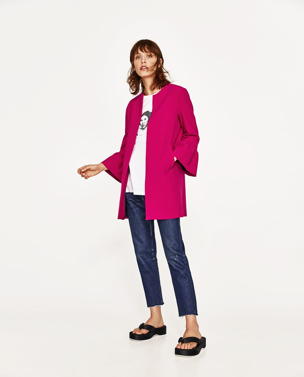 Image 1 of COAT WITH FRILLED CUFFS from Zara