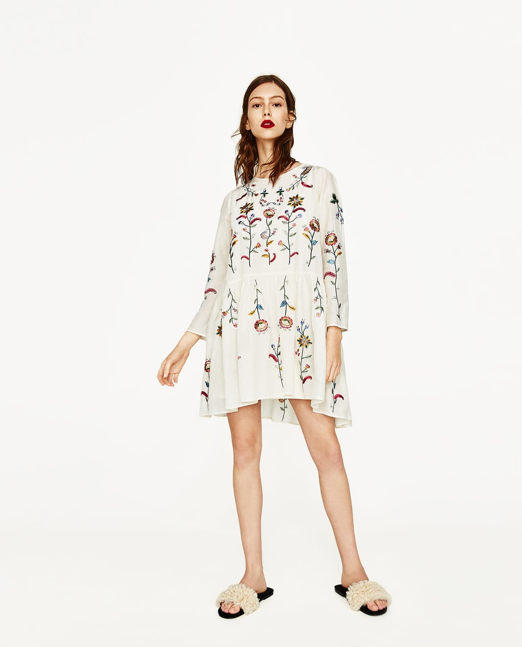 White dress at zara - Image 1 Of Silk Dress With Flowers Embroidery From Zara