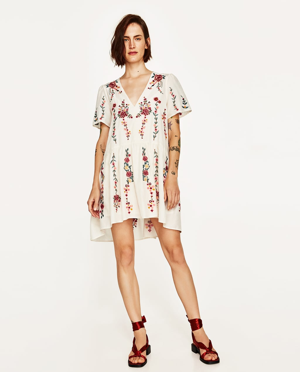 White dress at zara - Image 1 Of Floral Embroidered Dress From Zara