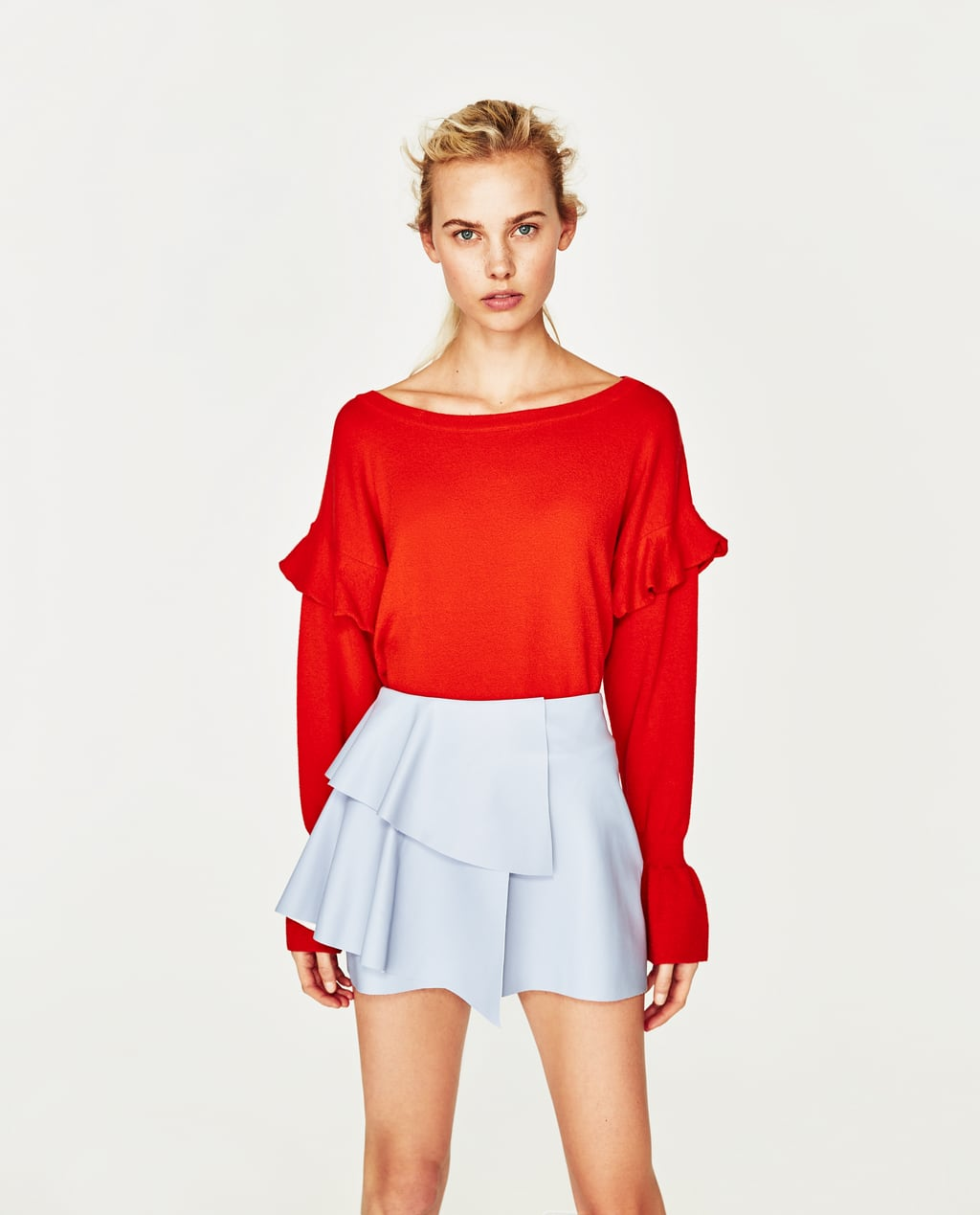 Image 1 of LEATHER-EFFECT MINI SKIRT WITH FRILLS from Zara