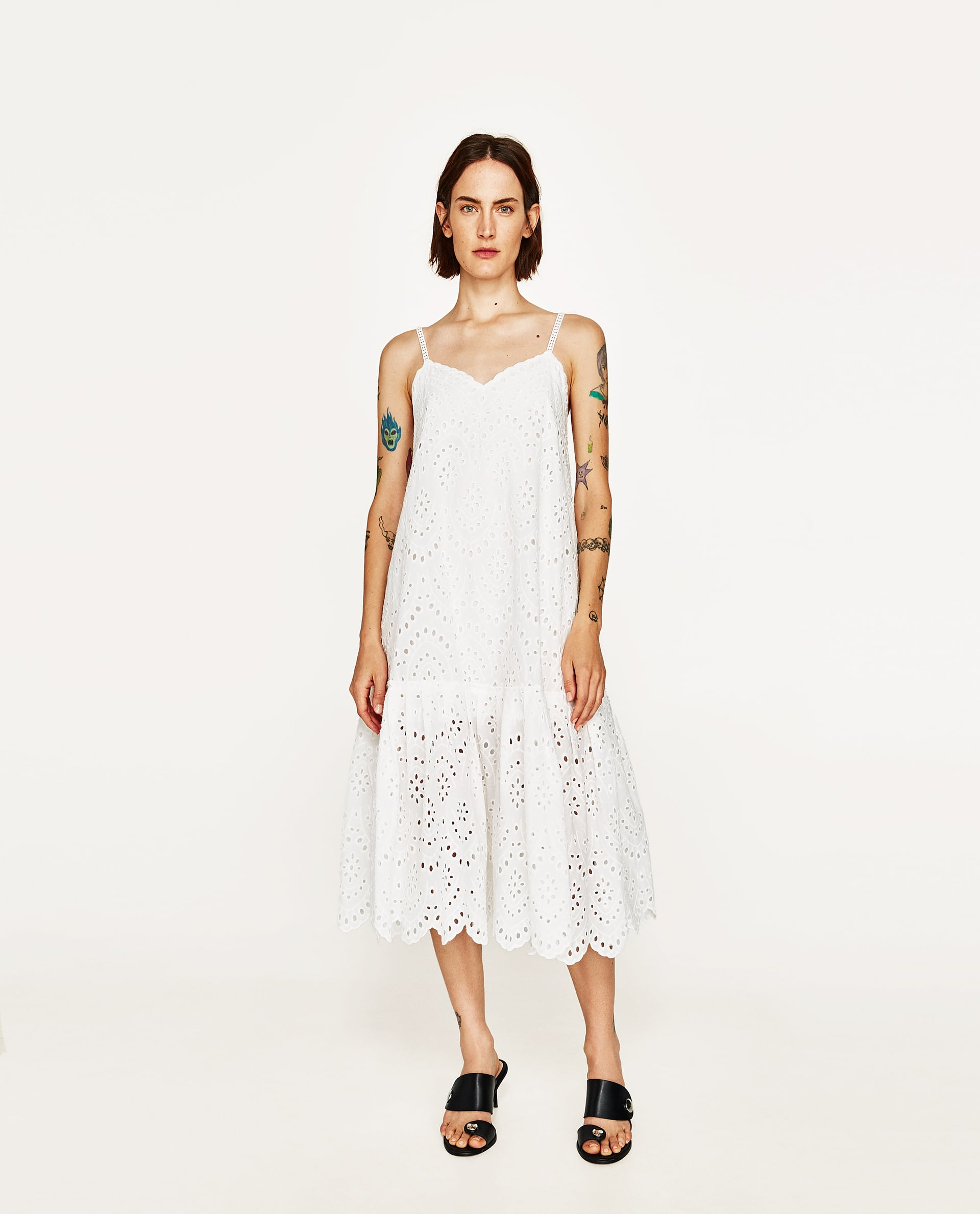 EYELET WHITE DRESS WITH SHIMMERY STRAPS