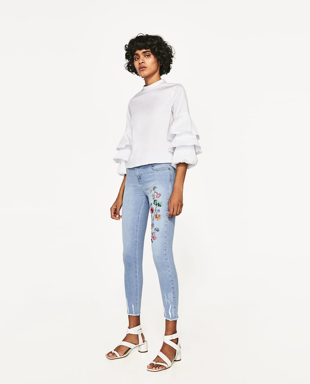Image 1 of MID-RISE JEANS WITH FLORAL EMBROIDERY from Zara