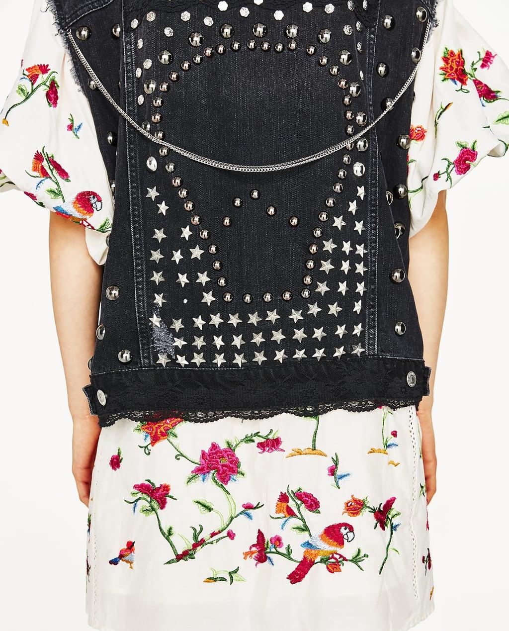 Image 3 of DENIM WAISTCOAT WITH METALLIC DETAILS from Zara