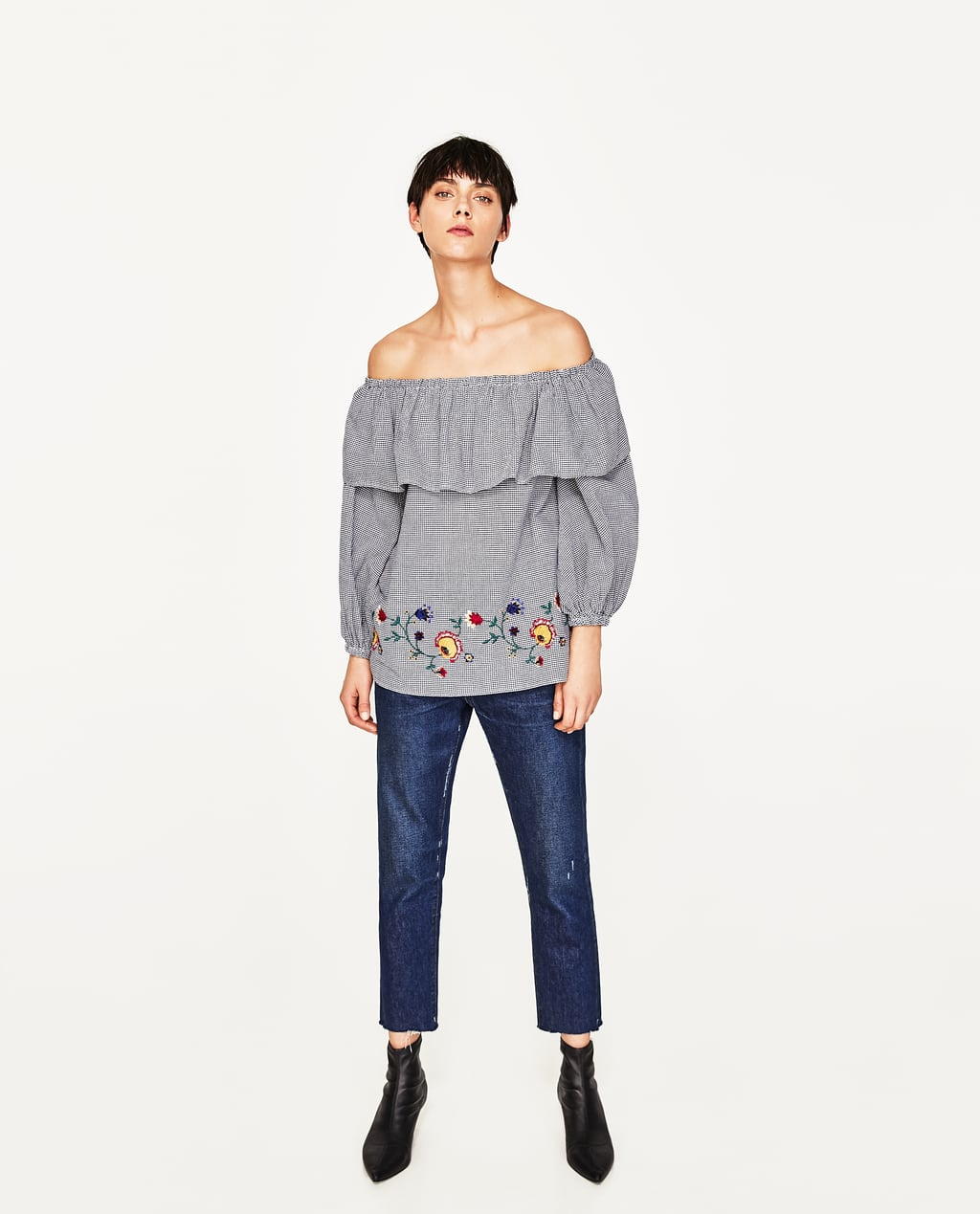 Image 1 of EMBROIDERED GINGHAM BLOUSE from Zara