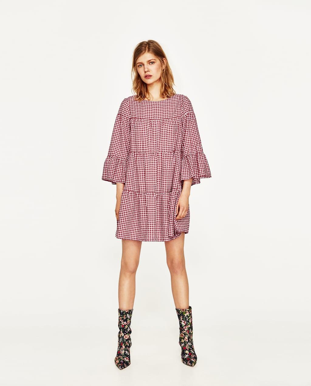 Image 1 of GINGHAM MINI DRESS from Zara