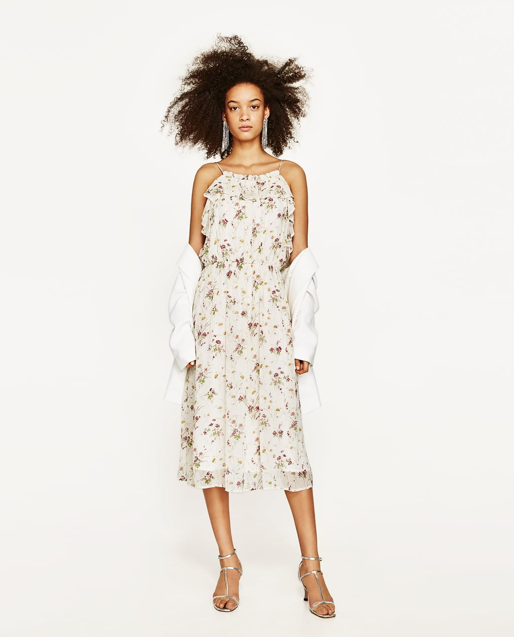White dress at zara - Image 1 Of Floral Dress From Zara