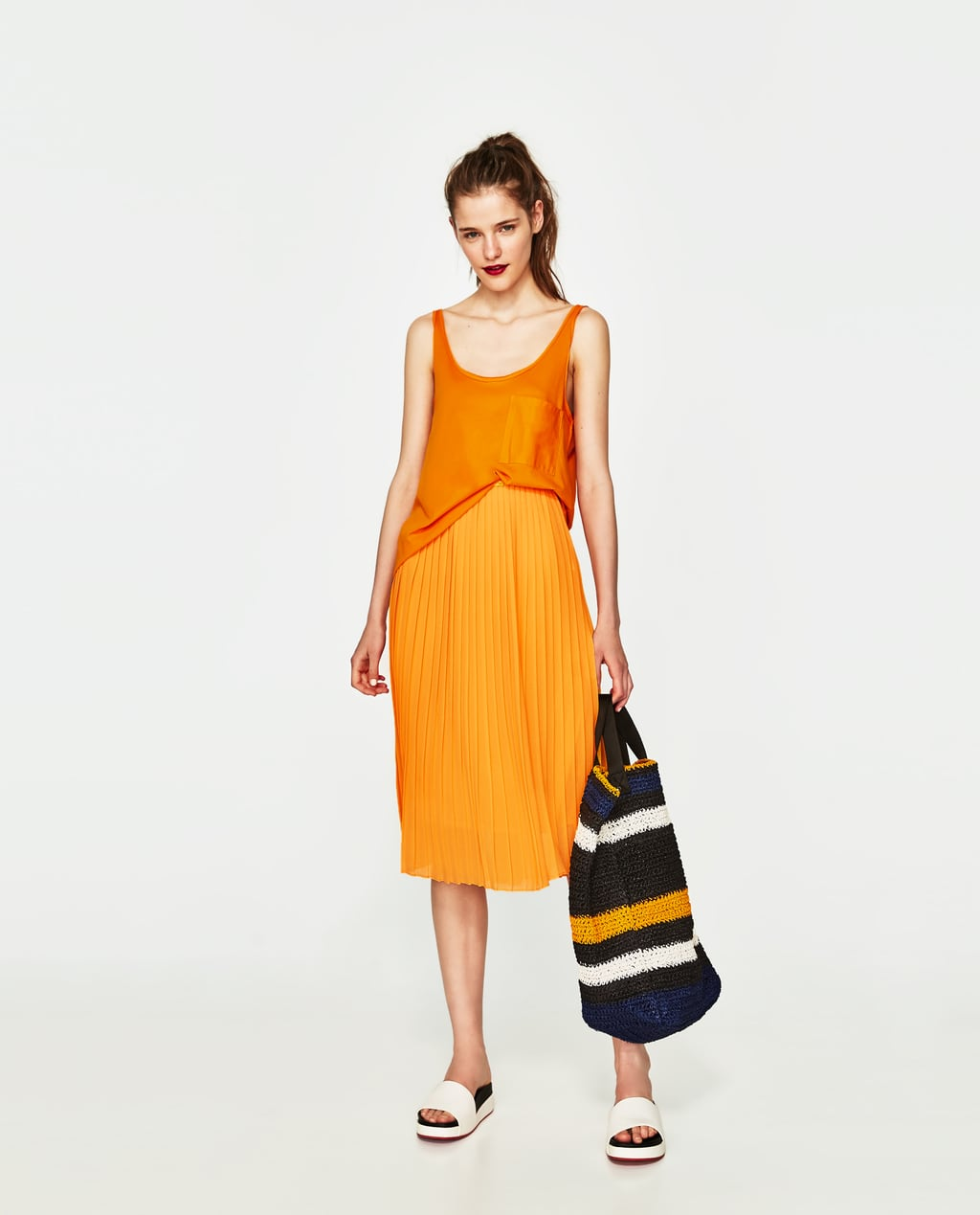 PLEATED MIDI SKIRT - NEON-TRF-EDITORIALS | ZARA United States