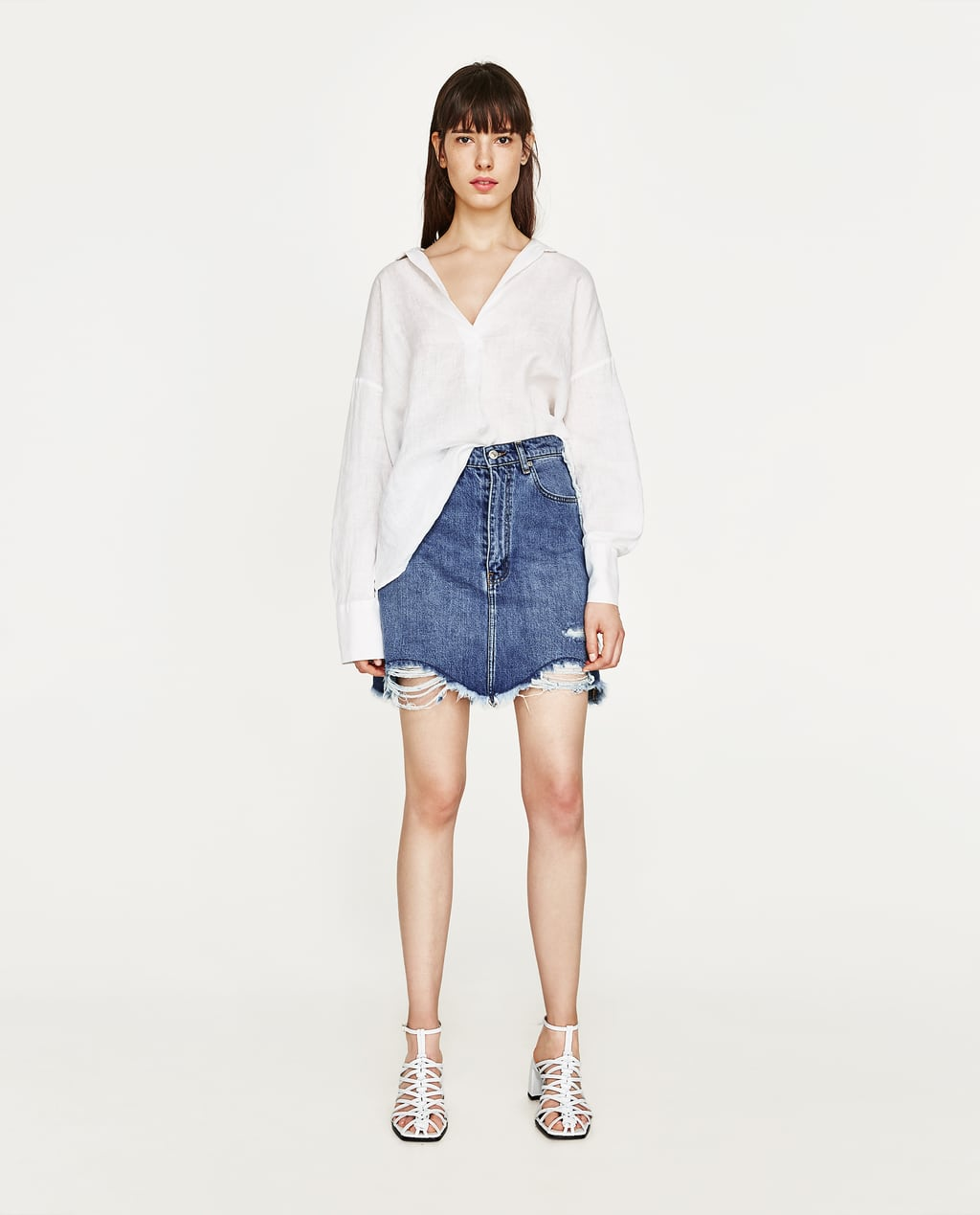 FRAYED DENIM SKIRT - COLLECTION-SALE-WOMAN | ZARA United States