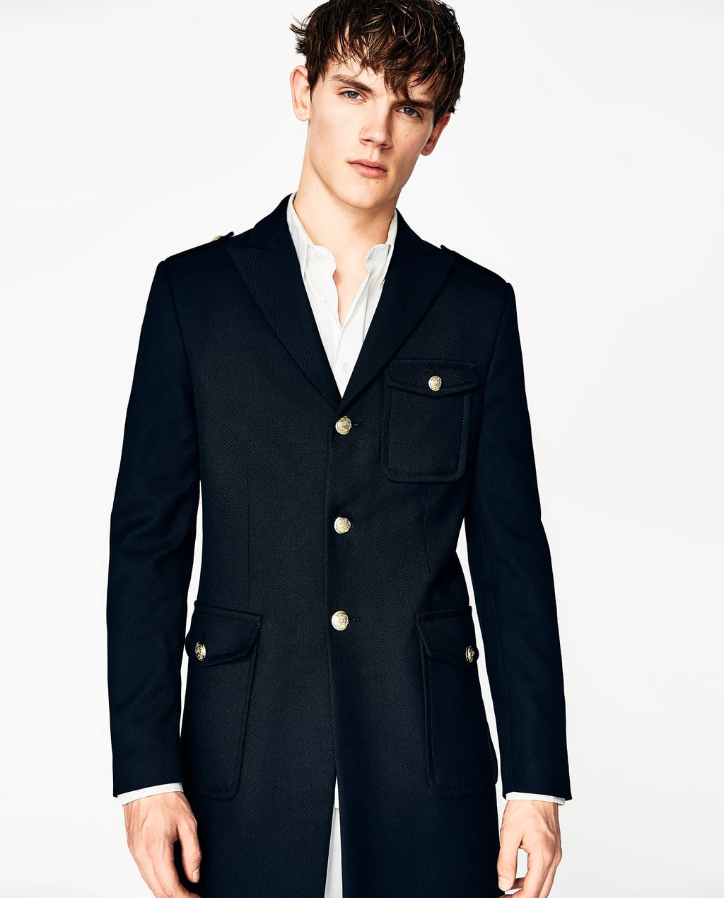 NAVY BLUE MILITARY COAT - OUTERWEAR-SALE-MAN | ZARA United States