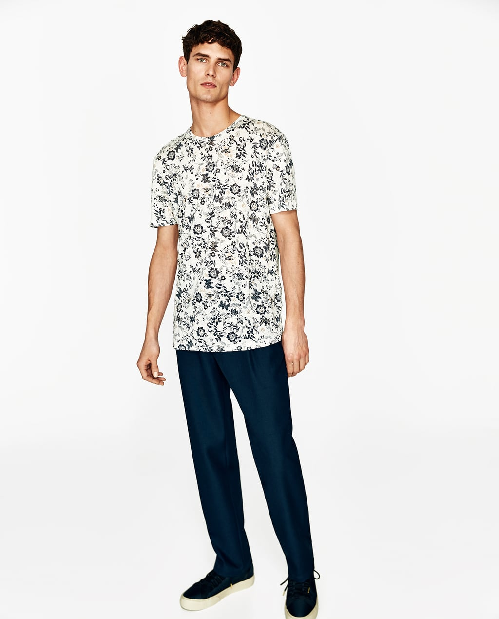 Zara black t shirt india - Image 1 Of Floral Linen T Shirt From Zara
