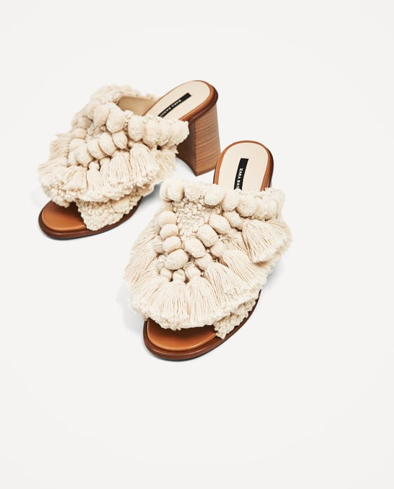 Image 1 of HIGH HEEL MULES WITH POMPOMS from Zara